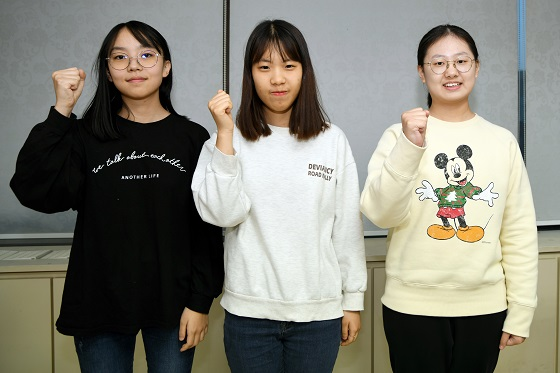 ▲2020년 첫 입단자들(왼쪽부터) 박소율ㆍ유주현ㆍ김은지